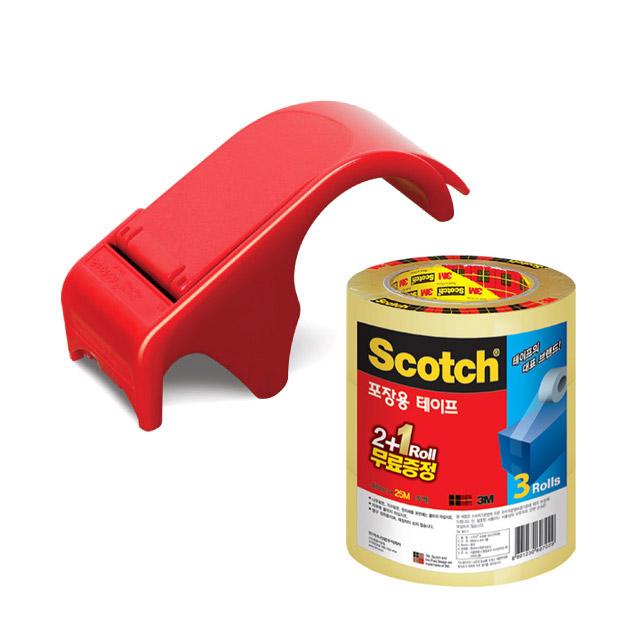 스카치 포장용 박스 테이프 디스펜서 DP-300RD + 포장용 테이프 3625V 투명 48mm × 25m 3p 세트, 혼합 색상, 1세트