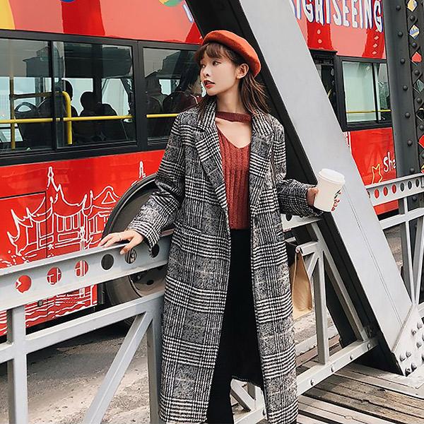 루나걸 여성용 마타 진주코사지 체크 코트