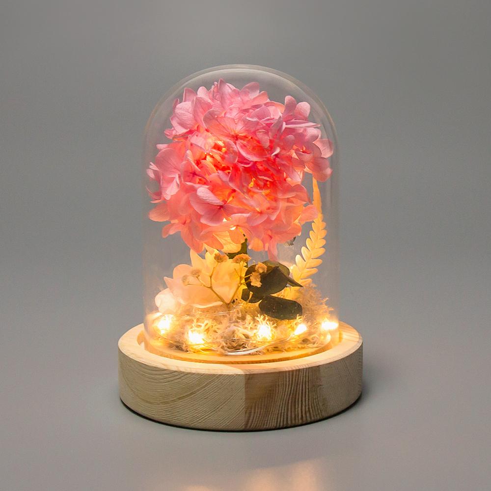 레토 유리돔 프리저브드 수국 플라워 LED 무드등 LML-PF01, 핑크