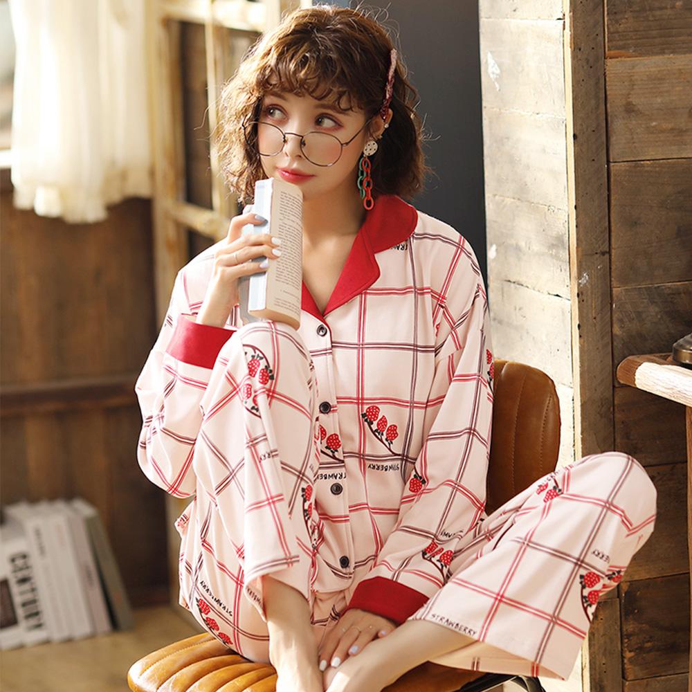 글램공감 여성용 산딸기 체크 투피스 잠옷 상하의 세트