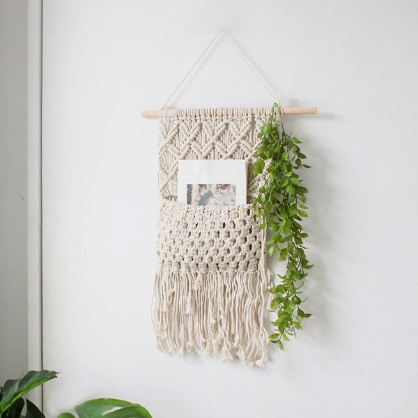 모리앤 포켓 마크라메 + 그린리프 천장장식 세트, 혼합 색상