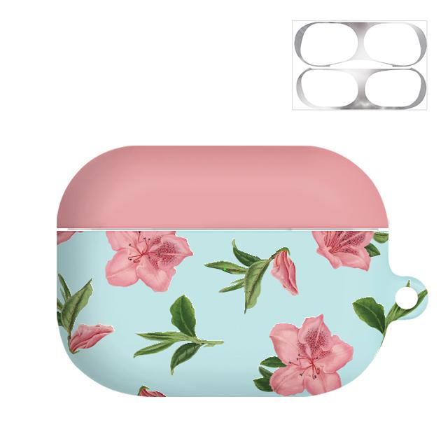 바니몽 플라워컬러 하드 에어팟프로케이스 + 철가루방지 스티커, 단일 상품, 핑크아젤레아