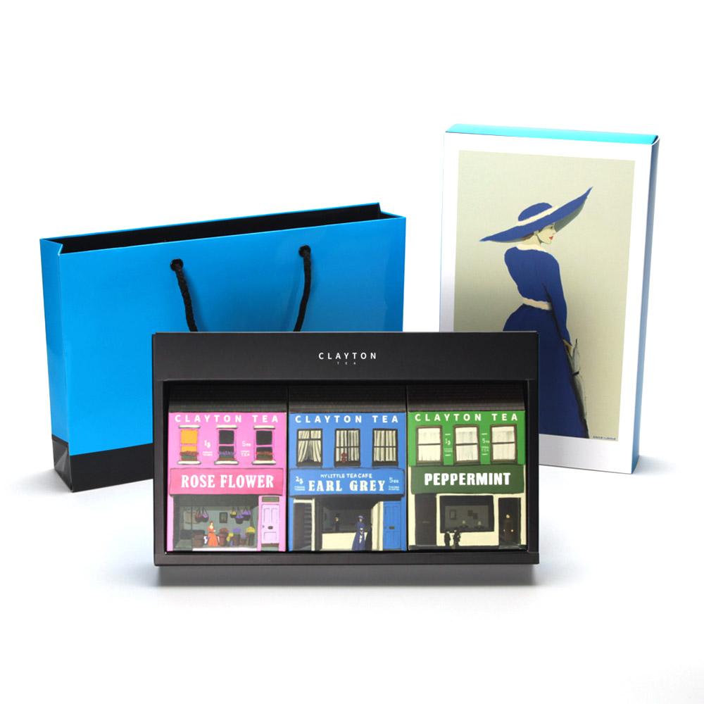 클레이튼티 빌리지 선물세트 2호 + 쇼핑백, 얼그레이 2g x 5p + 페퍼민트 1g + 5p + 로즈플라워 1g x 5p, 1세트