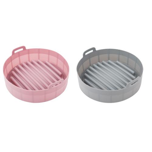 에어로프라이팟 실리콘 냄비 19cm, 핑크, 그레이, 2개
