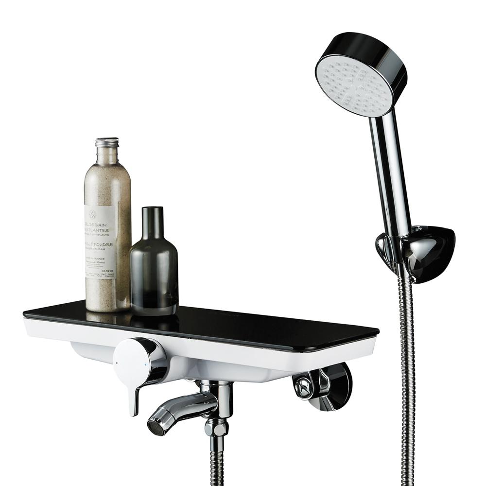 스위스밀리터리 강화유리 선반형 샤워 욕조 수전, 1개