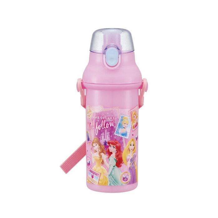 디즈니 원터치 유아용 보틀 + 어깨끈 + 이름 스티커 세트, 핑크 프린세스, 480ml