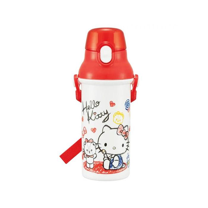 헬로키티 원터치 유아용 보틀 + 어깨끈 + 이름 스티커 세트, 화이트 헬로키티, 480ml