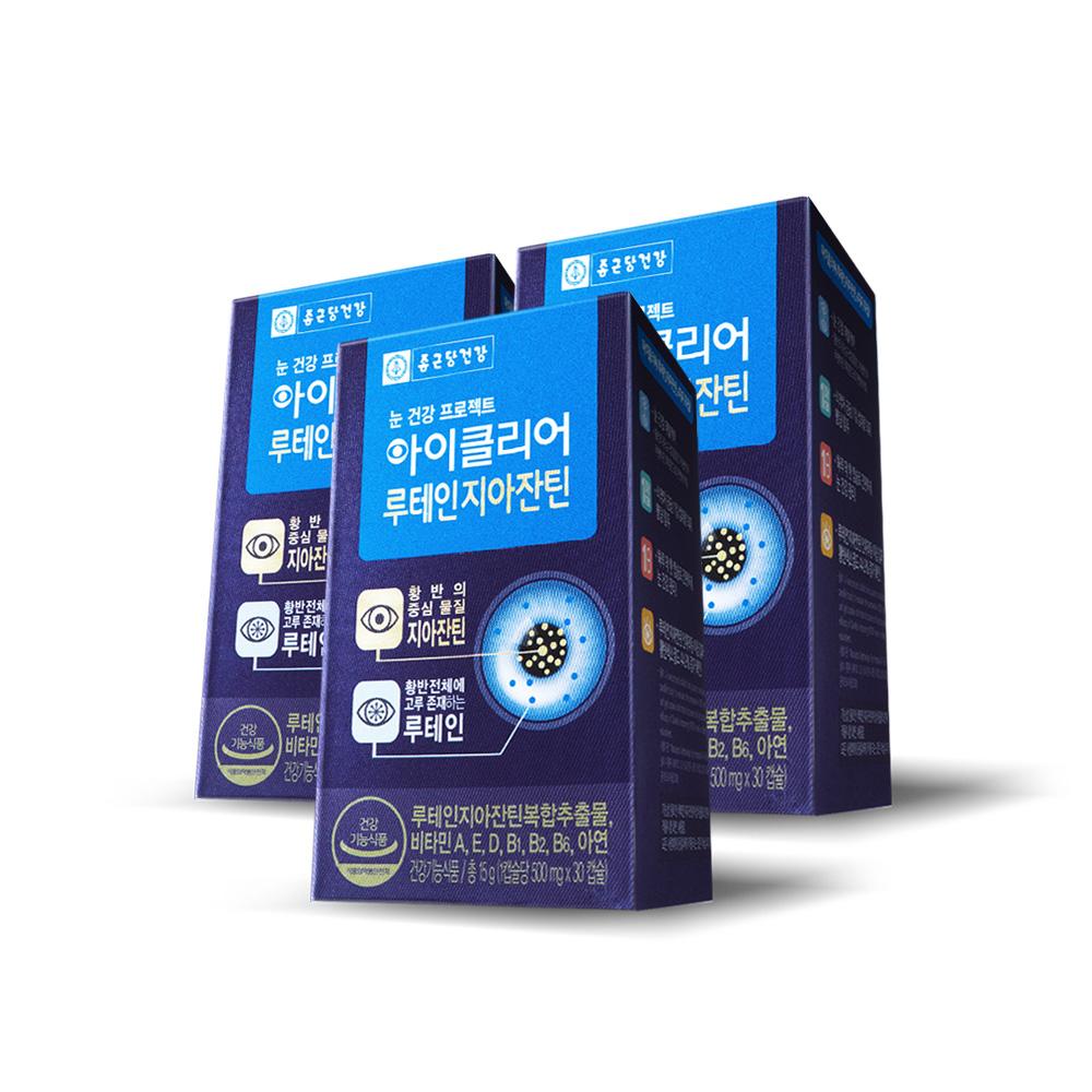 종근당건강 아이클리어 루테인 지아잔틴, 30캡슐, 3개