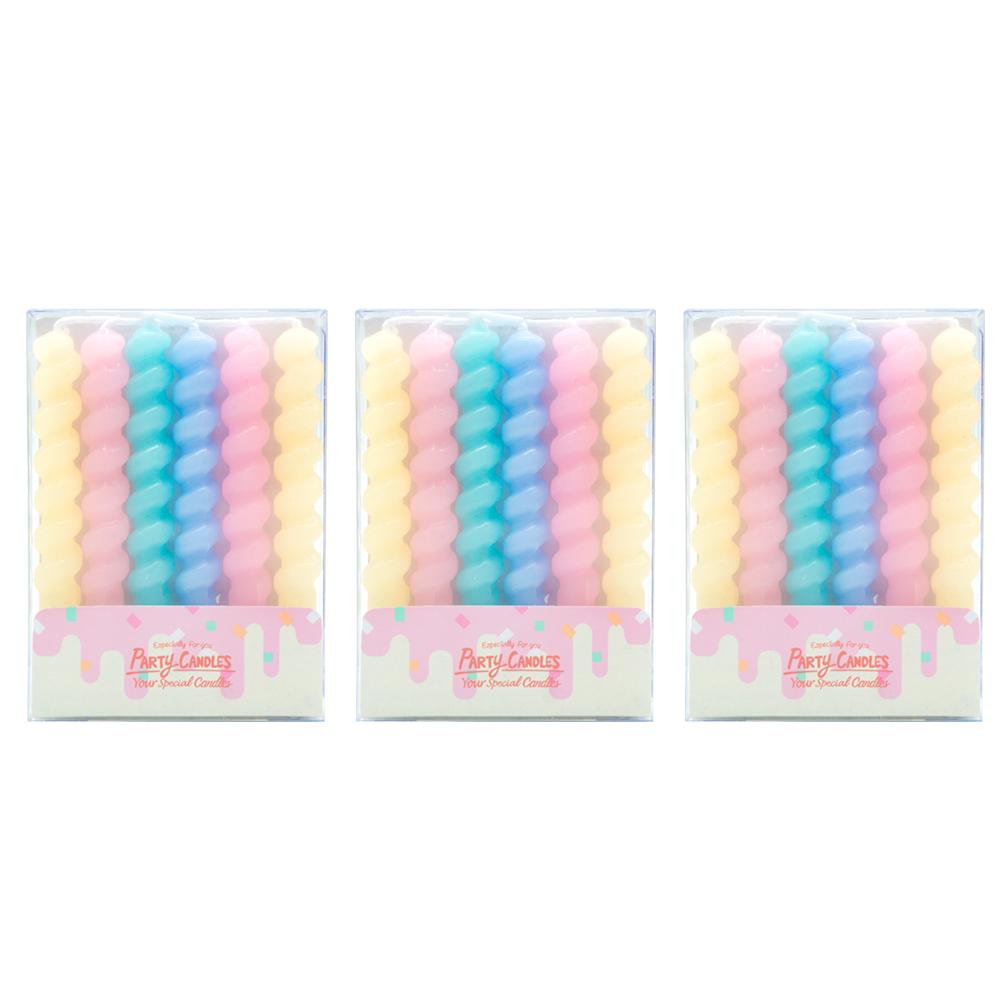 유어캔들 꽈배기 생일초 + 홀더 세트, 파스텔 오리지널, 18세트