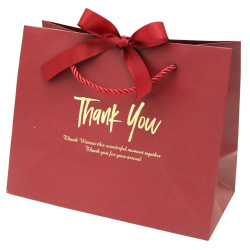 도나앤데코 프릴 thank you 리본장식 쇼핑백 5p + 리본 5p 세트, 쇼핑백(와인골드), 리본(레드)
