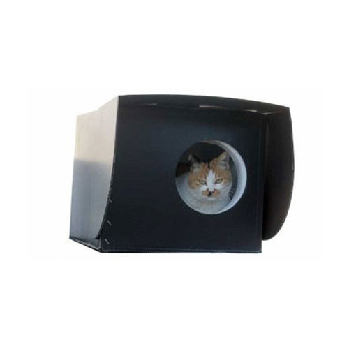 캣츠맘 길 고양이 국민 겨울 집 + 밸크로 테이프 55cm + 입구 비닐 세트, 블랙
