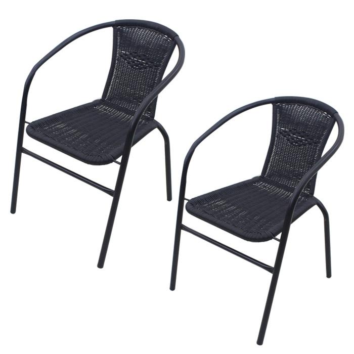 라탄 의자 2p, 블랙