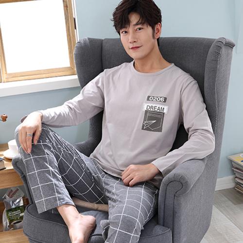 세컨핑크 남성용 긴팔 라운드 잠옷 상하셋트