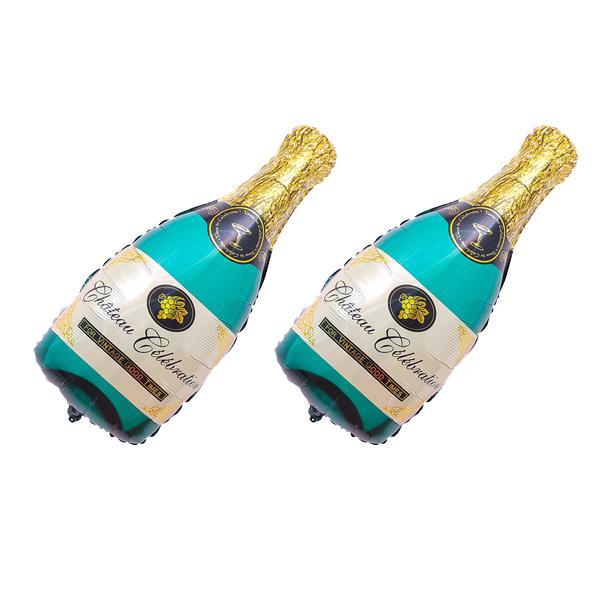 와우파티코리아 축하 샴페인 풍선, 그린, 2개