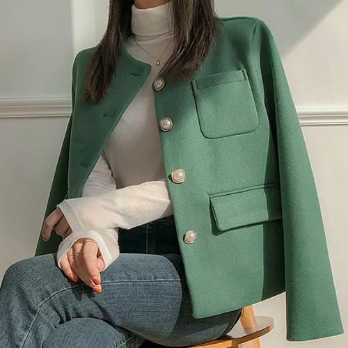 시크릿라벨 여성용 라운드넥 진주 버튼 모직 자켓