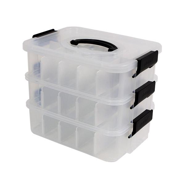 플라팜 미니 리빙 박스 3단 소 + 칸막이 세트, 혼합 색상, 1세트