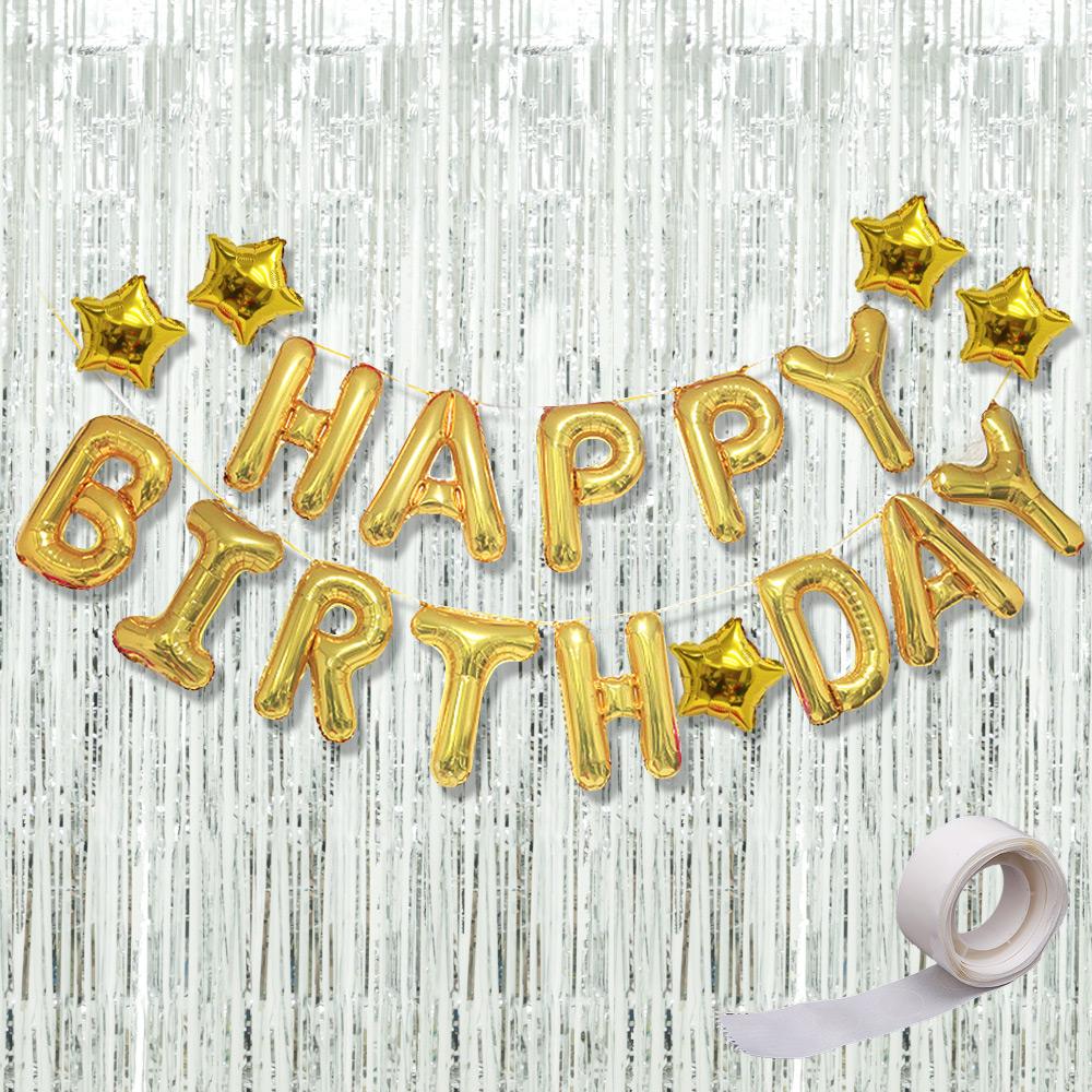 파티공구 생일 별 홀로그램 커튼 세트, 골드, 실버, 1세트