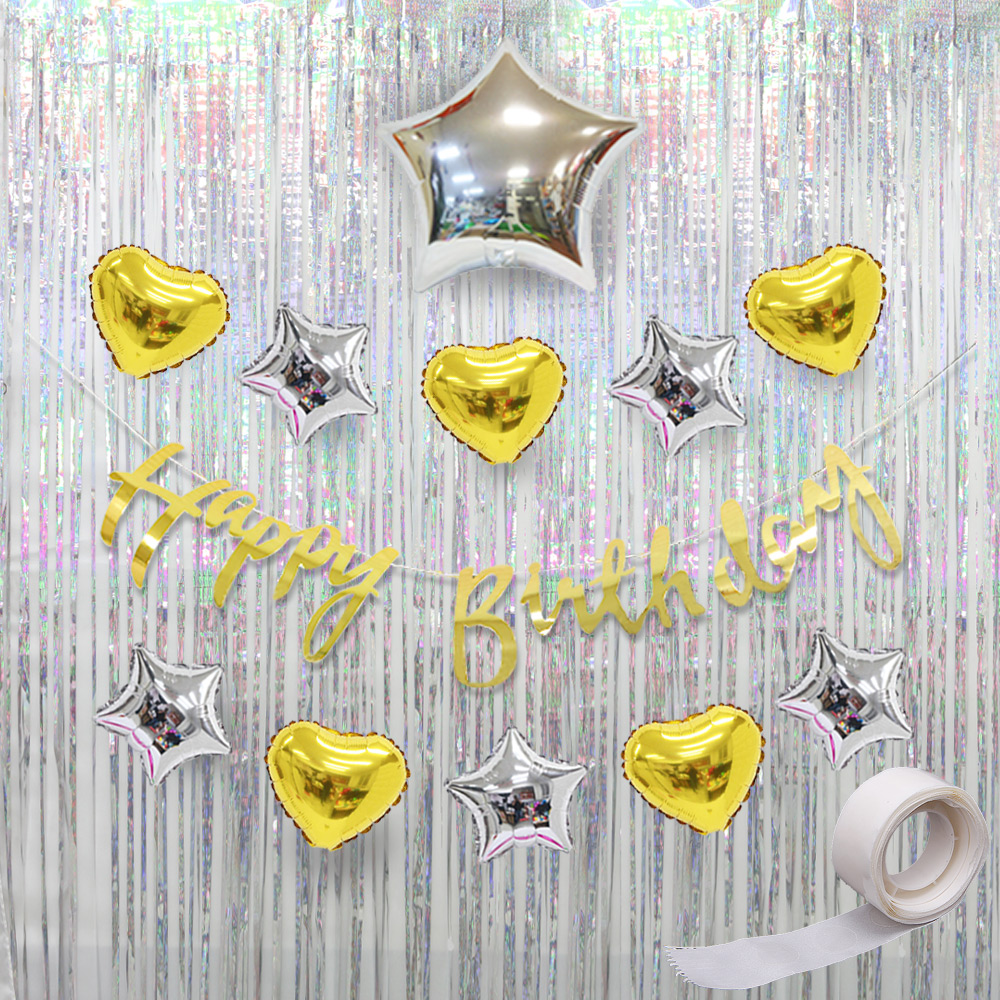 파티공구 생일 가랜드 풍선 커튼 세트, 골드, 1세트