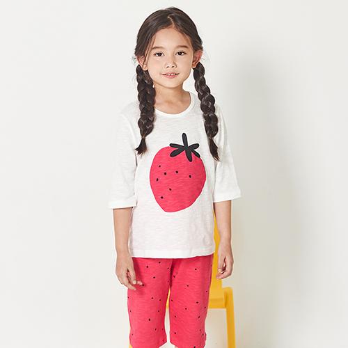 유니프랜드 아동용 딸기 싱글슬럽 7부내의 상하의 세트