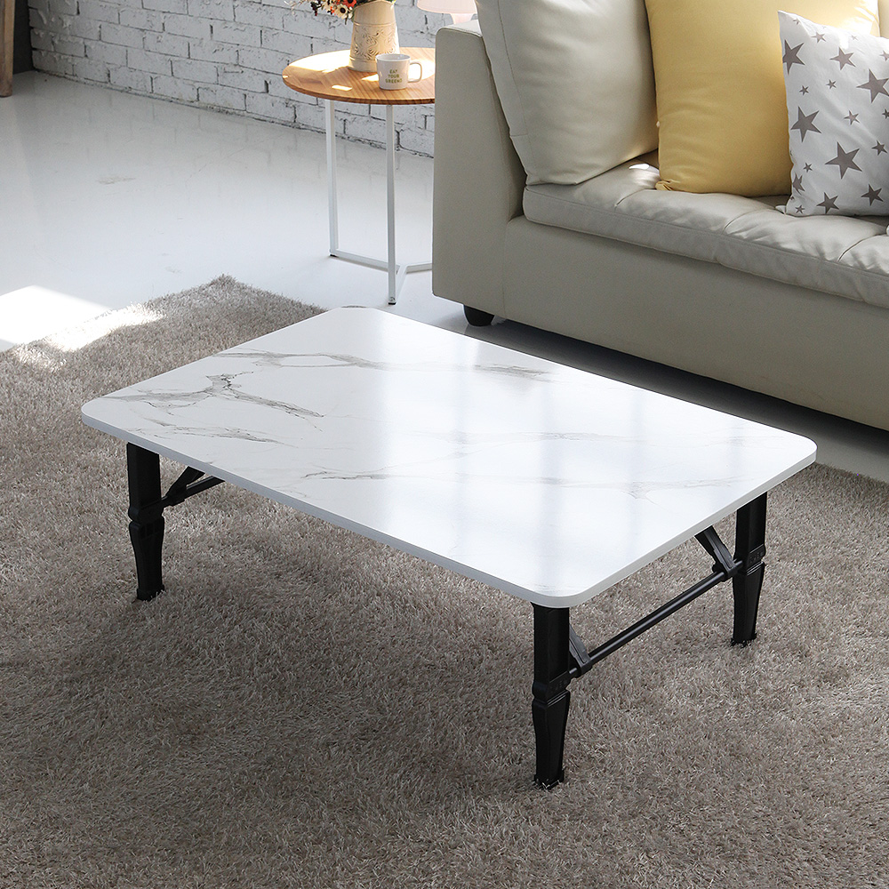 [주방 접이식 테이블] 레몬트리 트리팜 LPM 4인용 하모니 쌍다리 라운드 접이식 테이블 900 x 600 mm, 마블 화이트 - 랭킹6위 (29800원)