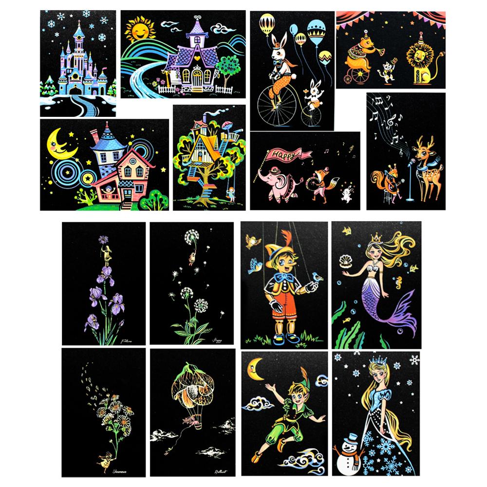 빅드림 디자인 컬러 스크래치 카드 16종 DIY 컬러링북 A5 + 도구키트 세트, 혼합 색상