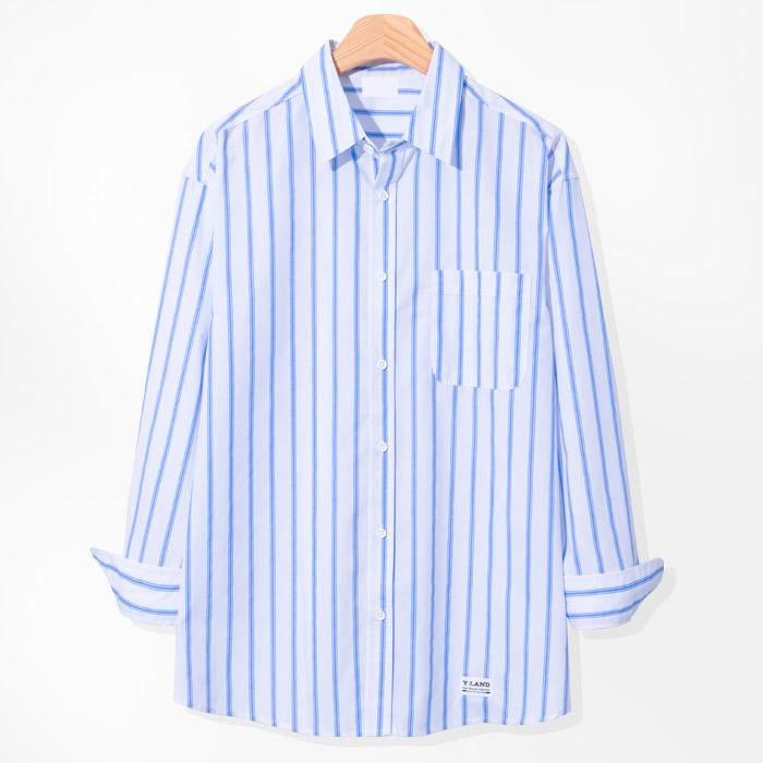 제이에이치스타일 남성용 오버핏 라이 스트라이프 셔츠