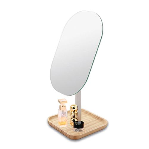 미로라인 우드 트레이 탁상 거울 120 x 120 x 280 mm ST-311