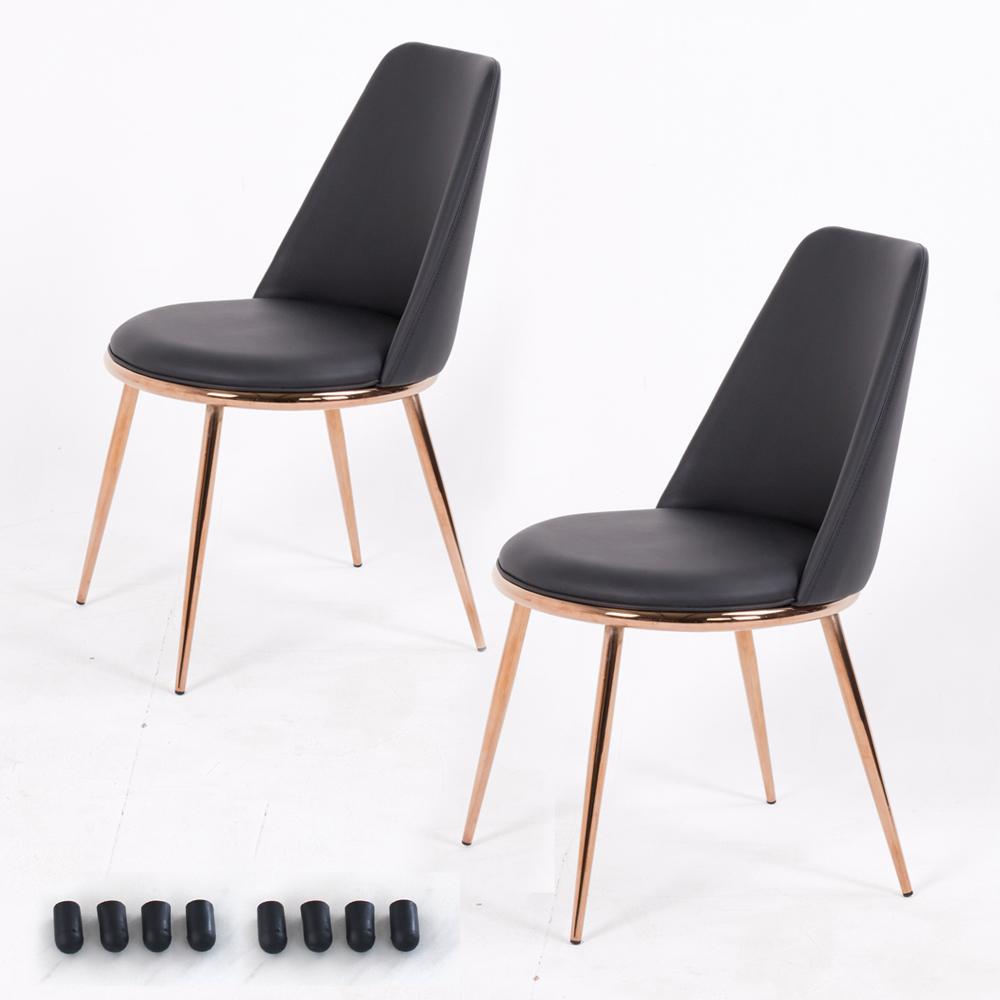 골드 써클체어 식탁의자 2p + 고무발통커버 8p, 블랙