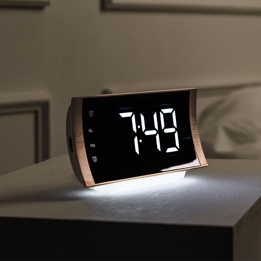 ORIENT 무브등 커브드 라디오알람 온도표시 LED 디지털탁상시계 OT1624RDG, 골드