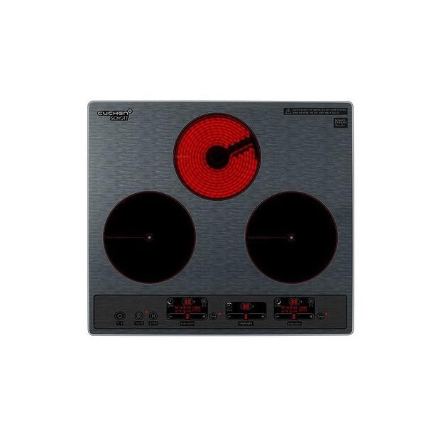 쿠첸 미라듀어 하이브리드 전기레인지 3구 자가설치 + 스탠드케이스, CIR-S3214DSMS