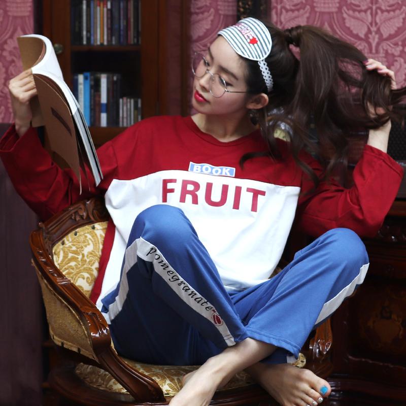 테라우드 여성용 배색 맨투맨 순면 잠옷 세트