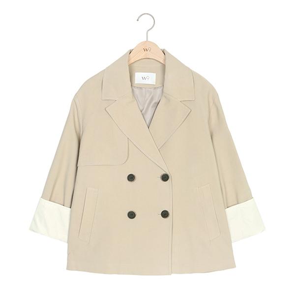 W9 소매 배색 숏 트렌치 코트