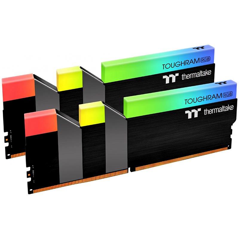 써멀테이크 TOUGHRAM RGB Memory DDR4 램 데스크탑용 PC4-25600 CL16 블랙 8GB 2p