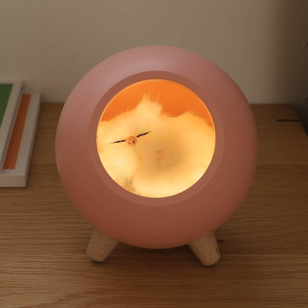 무아스 충전식 잠자는 고양이 무드등, 핑크