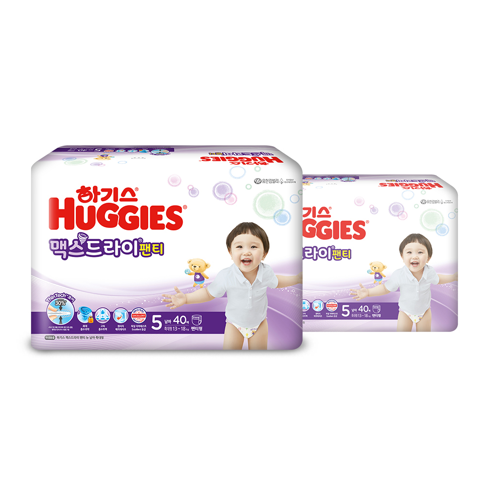 하기스 NEW 맥스드라이 팬티형 기저귀 남아용 특대형 5단계(13~18kg), 80매