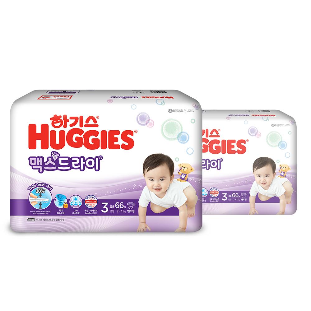 하기스 NEW 맥스드라이 밴드형 기저귀 아동공용 중형 3단계(7~11kg), 132매