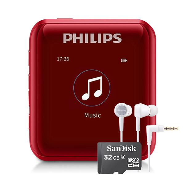 필립스 MP3 플레이어 + 샌디스크 마이크로SD 32GB + 아이리버 이어폰, SA2816(MP3), ICP-AT1000(이어폰), 레드(MP3)
