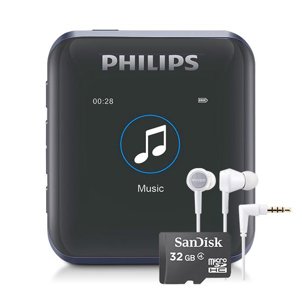 필립스 MP3 플레이어 + 샌디스크 마이크로SD 32GB + 아이리버 이어폰, SA2816(MP3), ICP-AT1000(이어폰), 블랙(MP3)