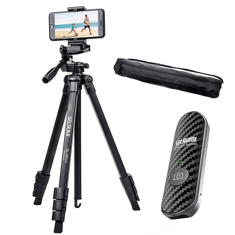 셀루미 최장 158cm 스마트폰 DSLR 삼각대 세트, SEL-TRD310(삼각대), SEL-ST200V(리모컨 블랙)