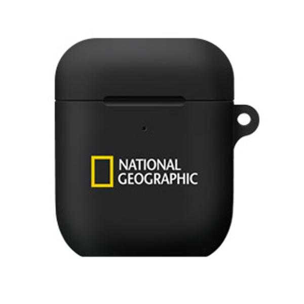 내셔널지오그래픽 브랜드로고 에어팟 케이스 실리콘, 블랙