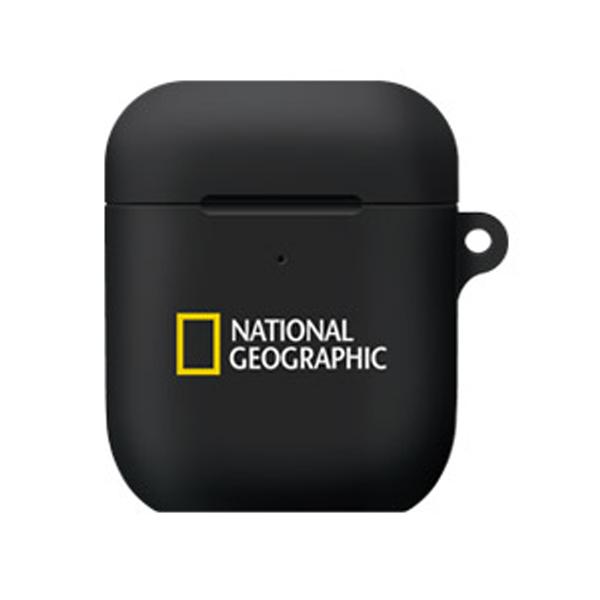 내셔널지오그래픽 브랜드로고 에어팟 케이스 하드, 단일상품, 블랙