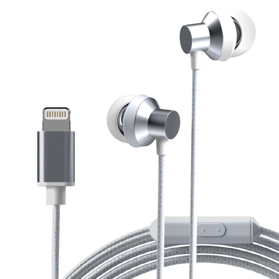 뉴클 아이폰 8핀 이어폰, NCME-02, 실버화이트