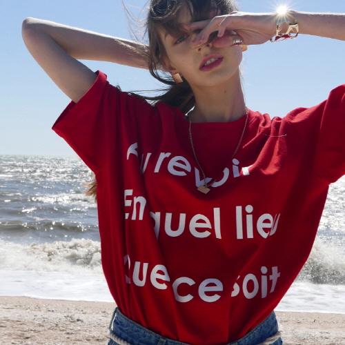 라티젠 여성용 레터링 박시 휴양지룩 티셔츠