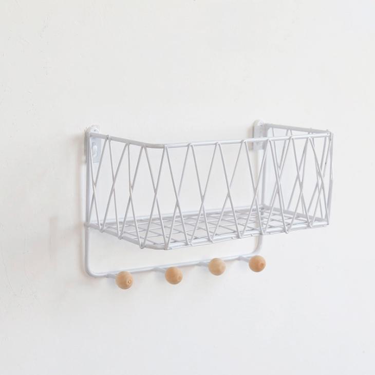 쇼신 푸투룸 벽선반 + 후크세트, 화이트