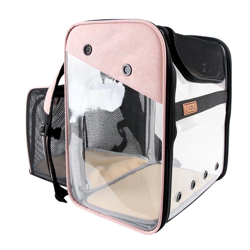 도그아이 강아지 확장형 투명 이동 백팩, 핑크