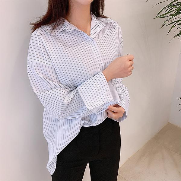 오키진 여성용 로인 슬릿 남방셔츠
