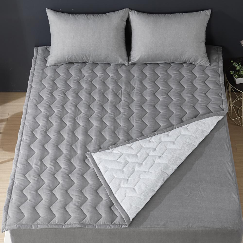 보드래 보송보송 느낌의 보드라운 퍼펙트 침대 패드 겸 카페트 + 베개 커버 세트, 그레이