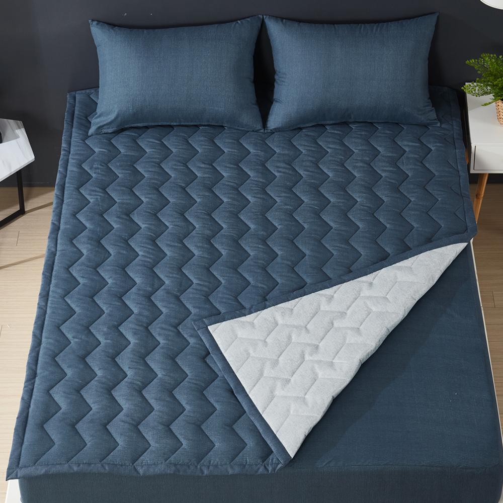 보드래 보송보송 느낌의 보드라운 퍼펙트 침대 패드 겸 카페트 + 베개 커버 세트, 로열블루