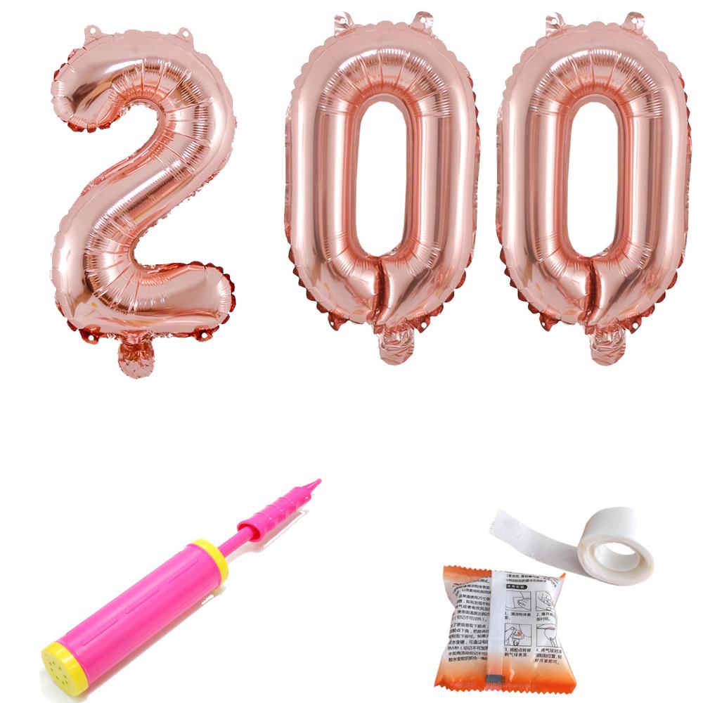 200일 숫자 은박 풍선 대 + 글루닷 + 손펌프 세트, 로즈골드, 1세트