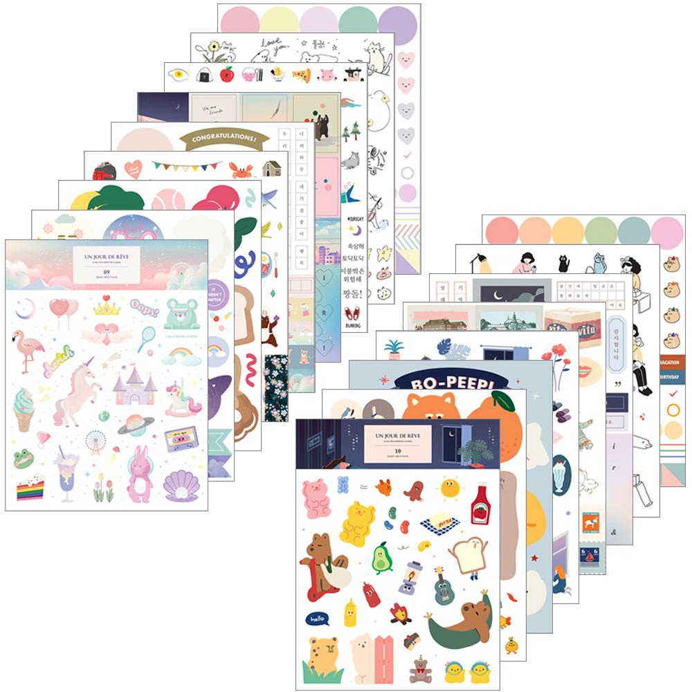 아이코닉 다이어리 데코팩 V.10 x 9종 + V.9 x 9종 세트, 혼합색상, 1세트